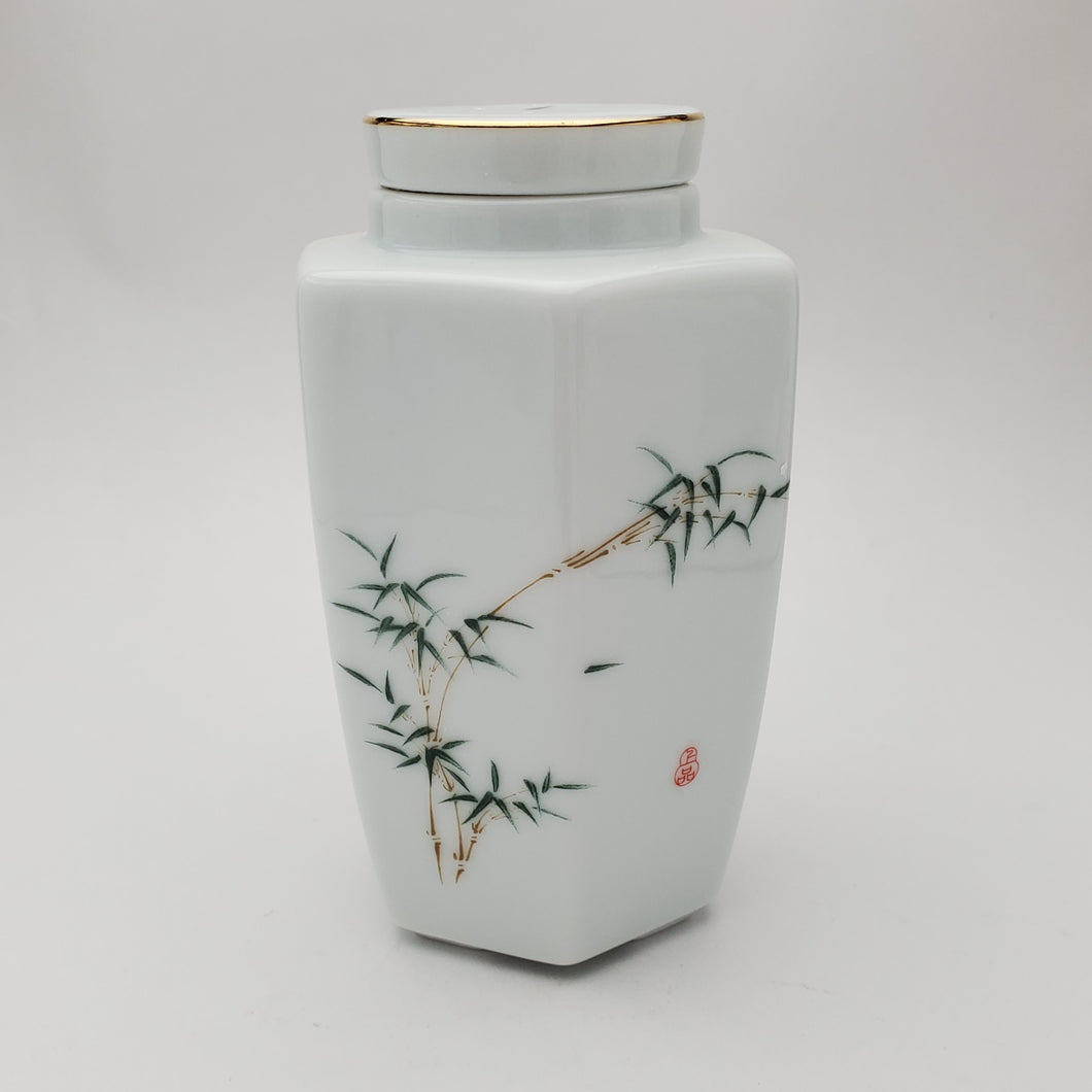 White Porcelain Bamboo Tea Jar  #3