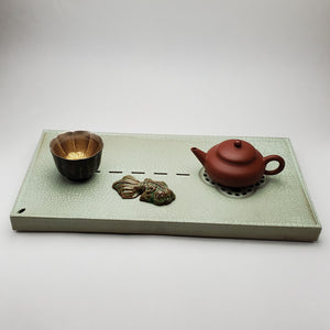Ru Ge Yao Tea Boat Tray - Carved Garden Window Design
