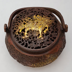 Incense Burner - Pine and Crane Gold Gilded