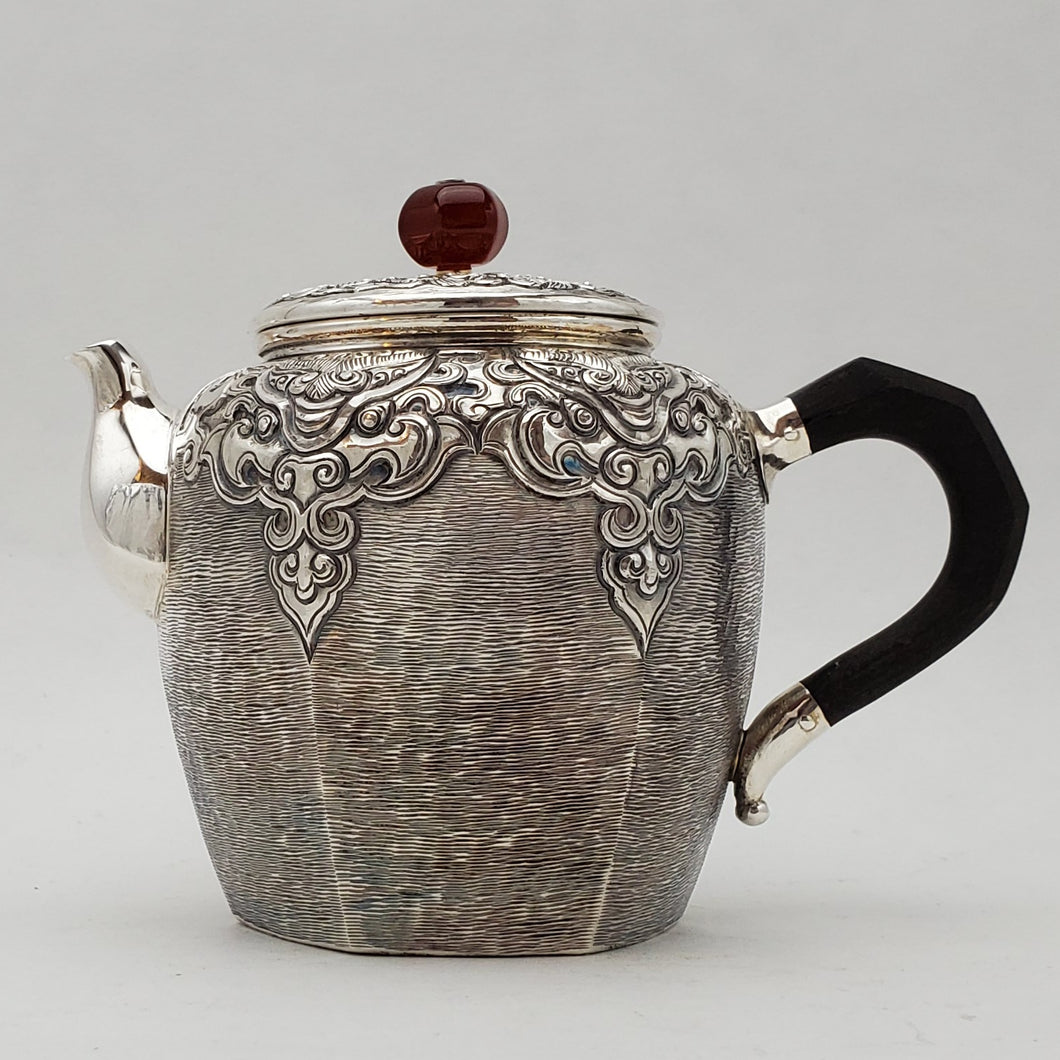 Hand Stamped Pure Silver Hexagon Teapot 210 ml