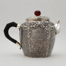 Load image into Gallery viewer, Hand Stamped Pure Silver Hexagon Teapot 210 ml
