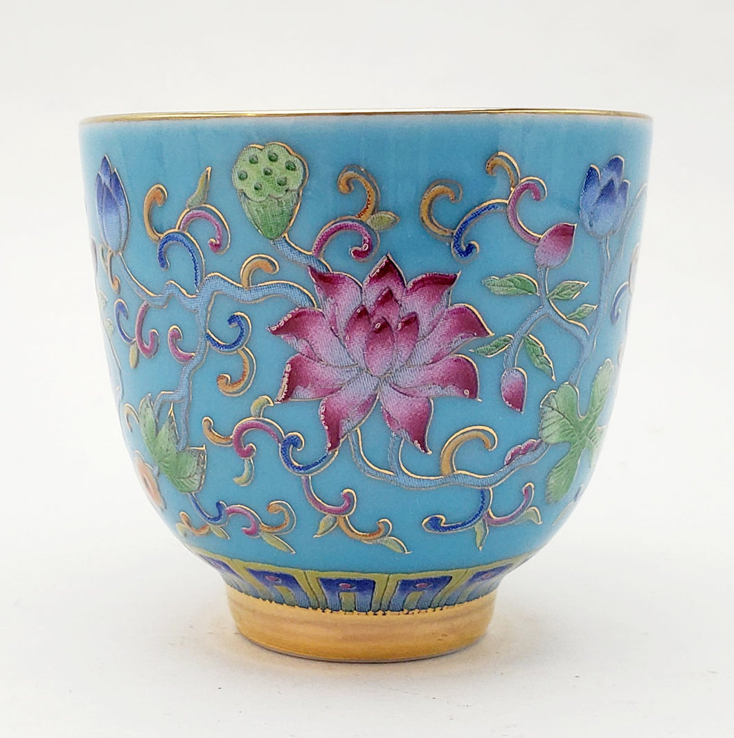 Silver Lined Blue Lotus Teacup