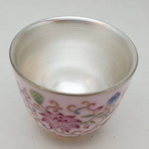 Silver Lined Pink Lotus Teacup