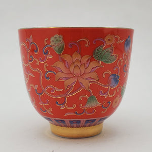 Silver Lined Red Lotus Teacup