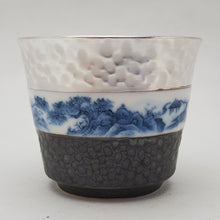 Load image into Gallery viewer, Silver Lined Blue and White Mountains Teacup