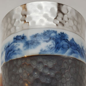 Silver Lined Blue and White Mountains Teacup