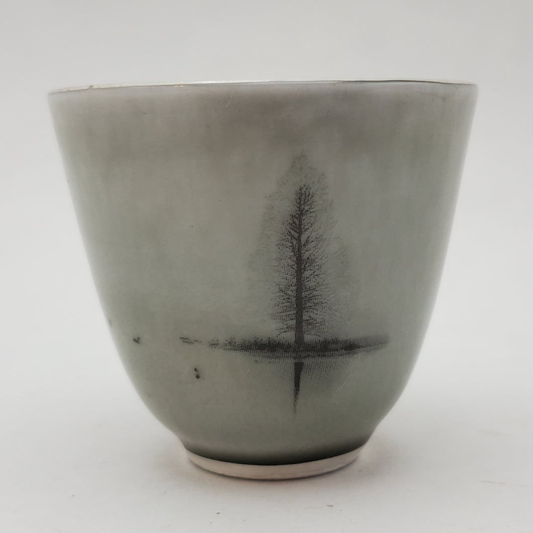 Silver Lined Grey Water Ink Teacup