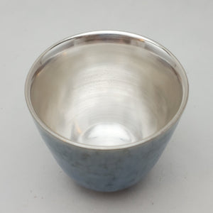 Silver Lined Blue Water Ink Teacup