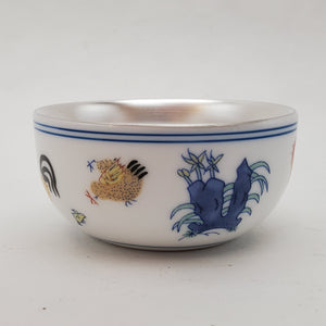 Silver Lined Chicken Teacup