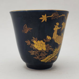 Gold 24k Lined Navy Blue Phoenix Teacup