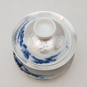 Gaiwan - Pure Silver Lined - Blue and White Mountains 3 pcs - 160 ml