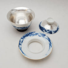 Load image into Gallery viewer, Gaiwan - Pure Silver Lined - Blue and White Mountains 3 pcs - 160 ml