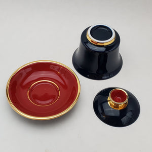Gaiwan - Pure Silver Lined - Red White Blue 3 pcs - 160 ml