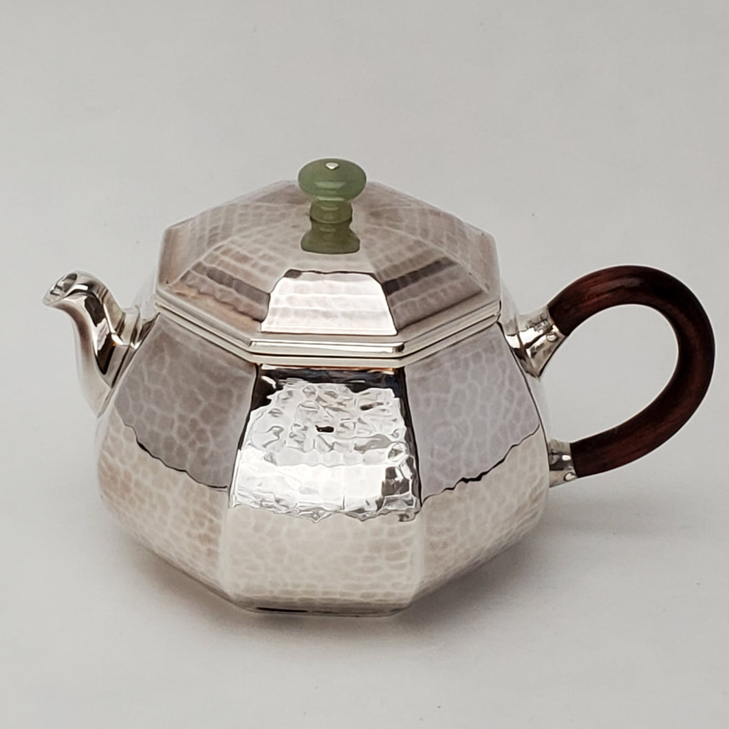 Hand Stamped Pure Silver Octagon Teapot 145 ml