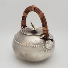 Load image into Gallery viewer, Pure Silver Tea-Water Kettle - Bamboo Root 1000 ml