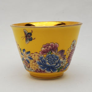 Gold 24k Lined Yellow Hundred Flowers Teacup