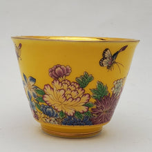 Load image into Gallery viewer, Gold 24k Lined Yellow Hundred Flowers Teacup