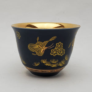 Gold 24k Lined Blue Butterfly Teacup