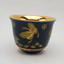 Load image into Gallery viewer, Gold 24k Lined Blue Butterfly Teacup