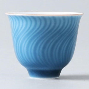 2 Sea Blue Porcelain Teacups