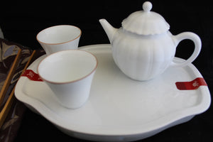 Jing De Zhen Porcelain Travel Flower Teapot Set