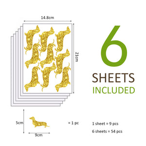 54pc/set Dachshund Wall Stickers - HolliePaws