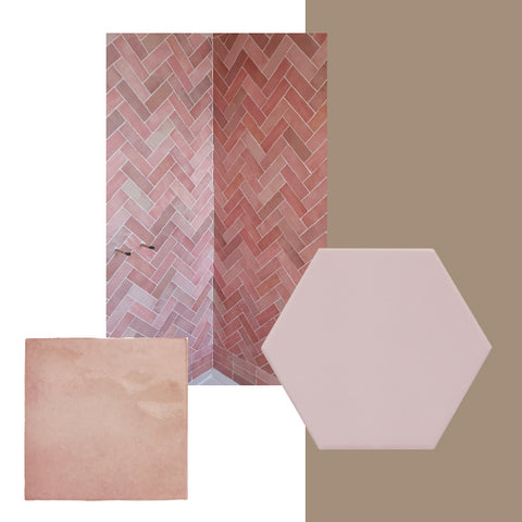 Dulux Colour of the Year paired with pink tiles