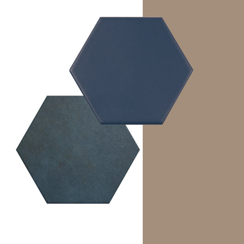 Dulux Colour of the Year paired with dark blue tiles