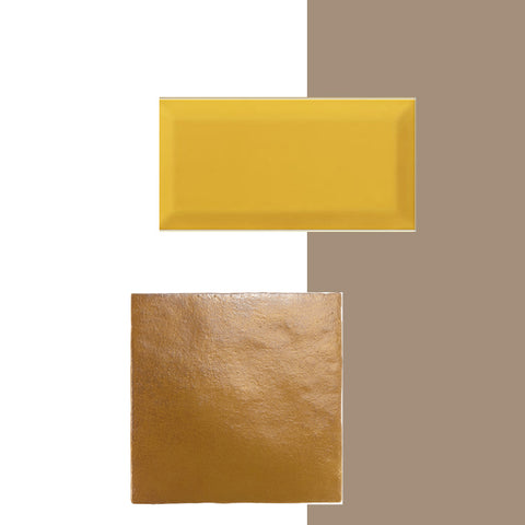 Dulux Colour of the Year paired with gold tiles