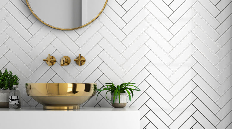 herringbone subway bathroom tiles