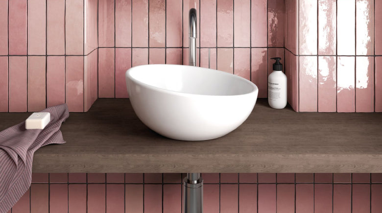pink wall tiles in bathroom