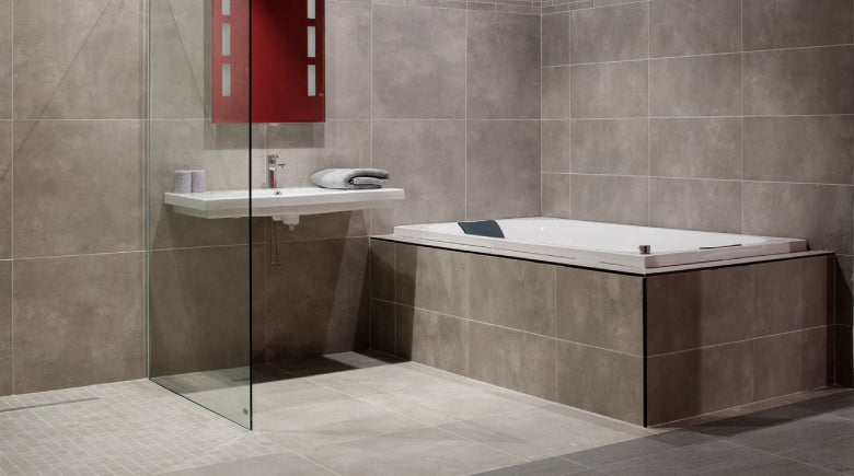 Walk in shower with sink and bath