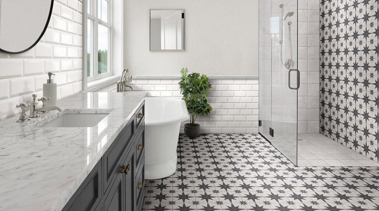 Black and White Star Pattern Tiles