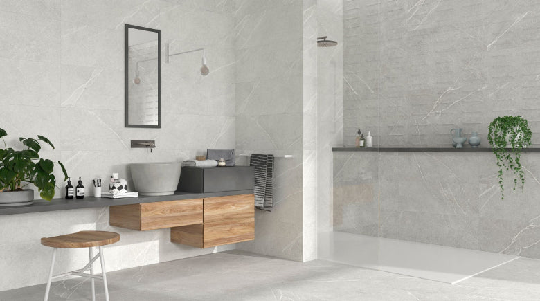 warm grey tiles in bathroom