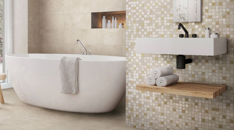 mosaic tile feature wall in bathroom