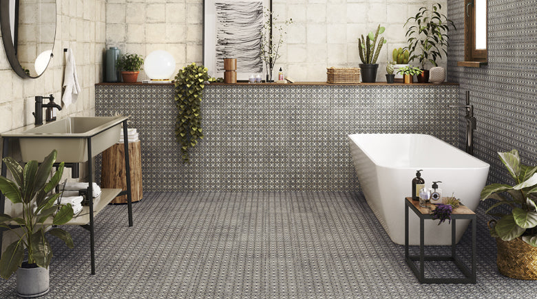 Pattern wall and floor tiles in bathroom