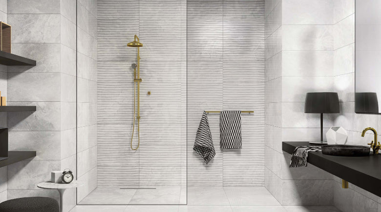 textured tile in shower