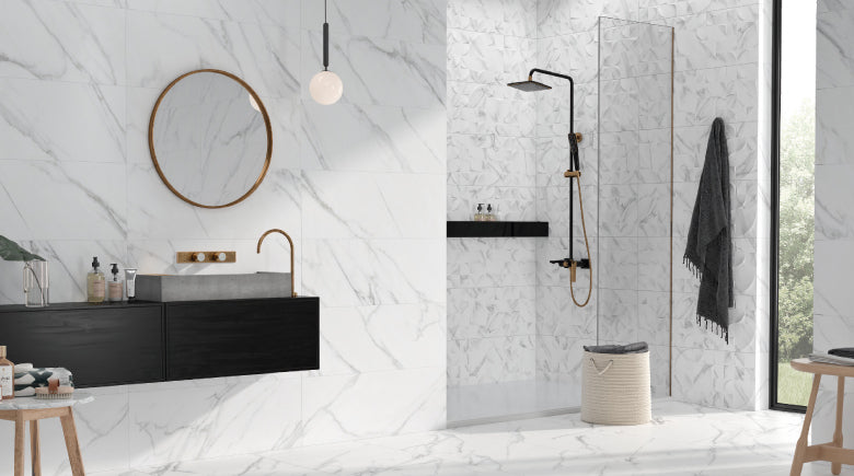 white marble tiled bathroom