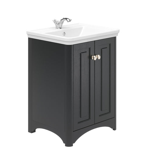 Lambeth 600mm Floor Standing 2 Door Vanity Unit Graphite Ash