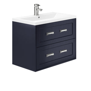Berkley 800mm 2 Drawer Wall Hung Vanity Unit Indigo Ash