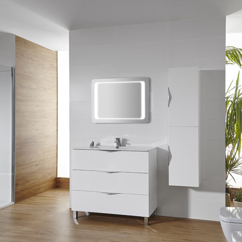 Agata 800mm White Gloss Floor Mounted Vanity Unit & Washbasin