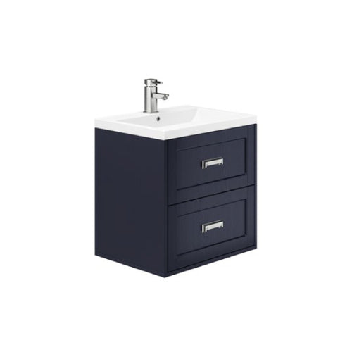 Berkley 600mm 2 Drawer Wall Hung Vanity Unit Indigo Ash