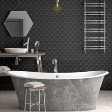 Load image into Gallery viewer, Black Fan shaped tiles in bathroom