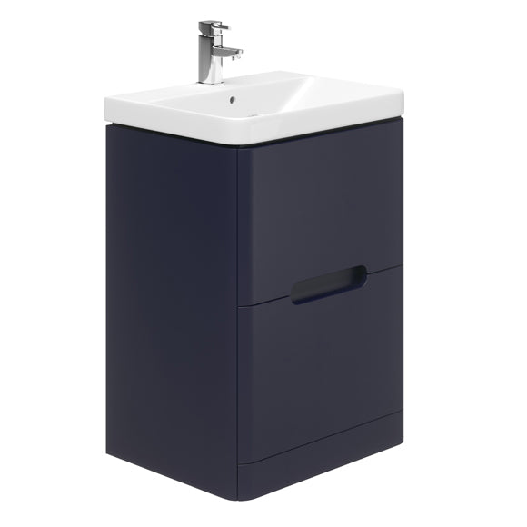 Carvello 600mm 2 Drawer Floor Standing Vanity Unit Indigo Matte