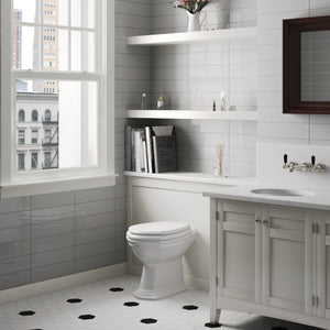 Lifestyle image of evolution gris claro tile in bathroom setting