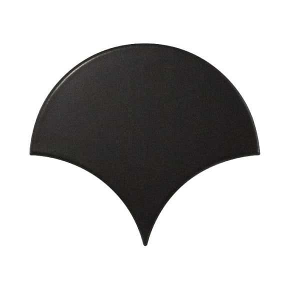 Black fan shaped tile