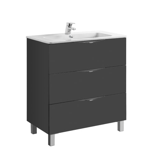 Agata 800mm 3 Drawer Grey Gloss Vanity Unit
