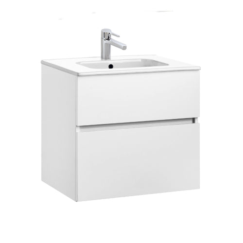 Jade 600mm 2 Drawer White Gloss Wall Hung Vanity Unit