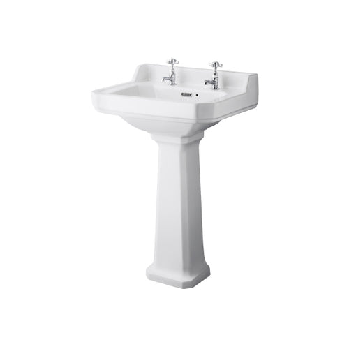 Roisin Traditional 560mm Washbasin & Pedestal 2 Tap Holes