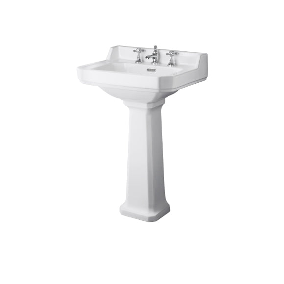 Roisin Traditional 560mm Washbasin and Pedestal 3 Tap Holes